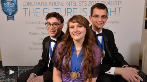 Sara Volz, Intel Science Talent Search winner, with second and third place winners