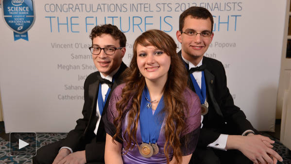 Intel Science Prize Winner Sara Volz, with second and third prize winners
