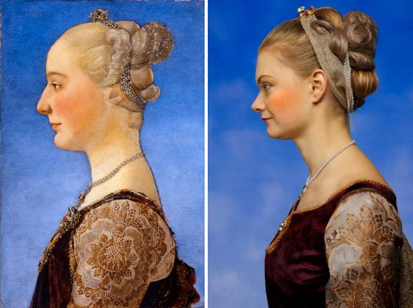 1. Rennaisance portrait of woman (left); photograph of woman (right)