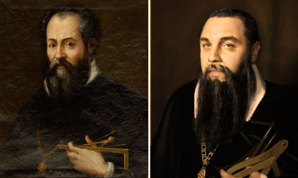 3. Rennaisance portrait of man (left); photograph of man (right)