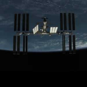 ISS against a backdrop of Earth and space