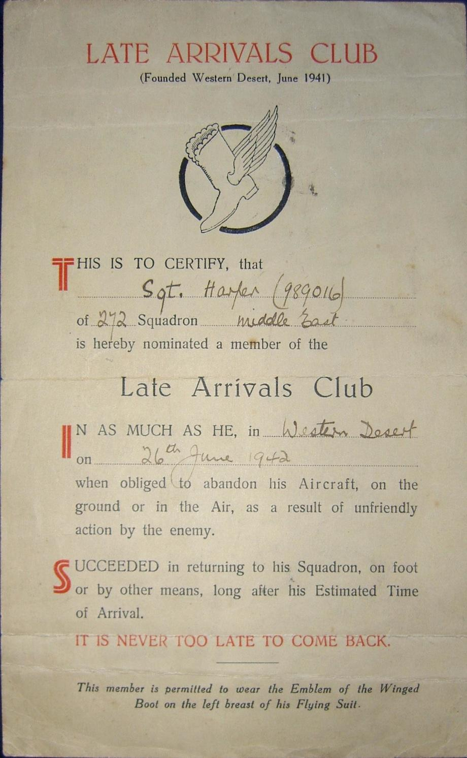 """Late Arrivals Club"" certificate"
