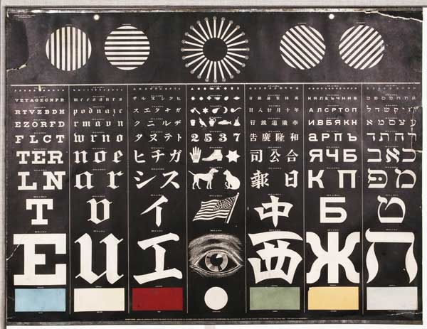 Eye chart in four languages