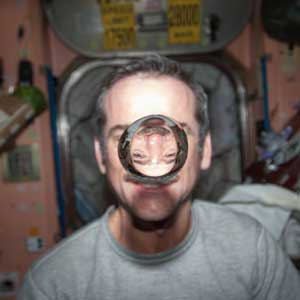 Chris Hadfield on the ISS with water bubble