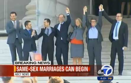 Proposition 8 plaintiffs and their attorneys exit the courthouse.