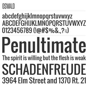 """Oswald"" font with sample type"