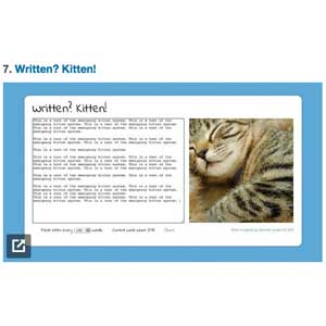 """Written? Kitten!"" screen"