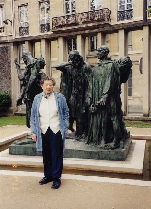 Anna in front of Rodin sculptures in Paris