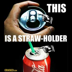 Aluminum can straw holder