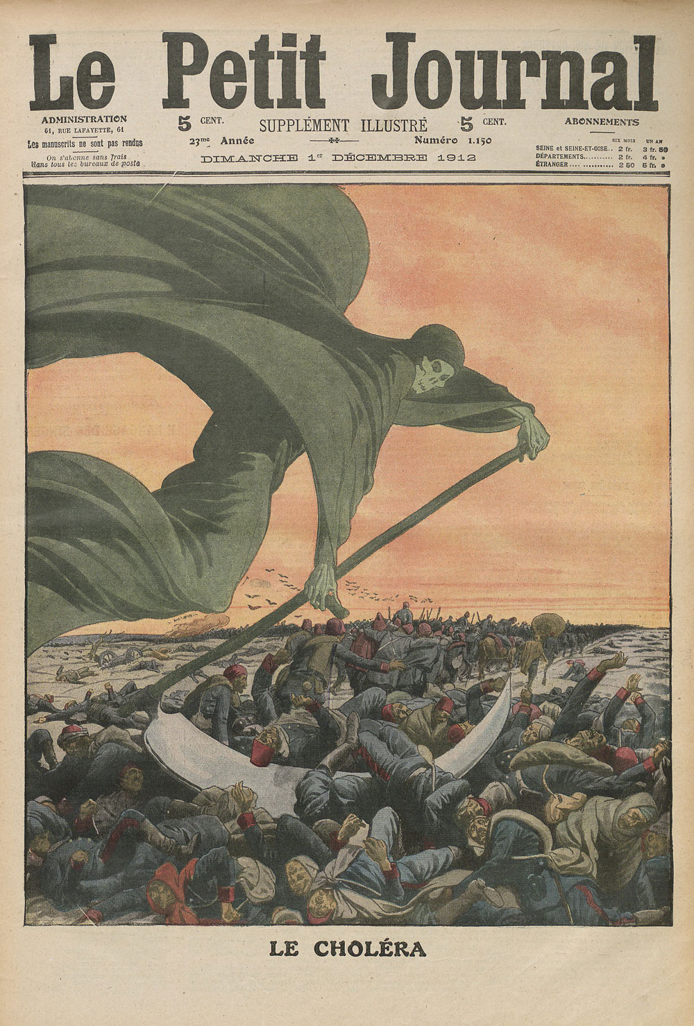 "Cover of French newspaper ""Le Petit Journal"" with illustration of the figure of Death cutting down marching troops"