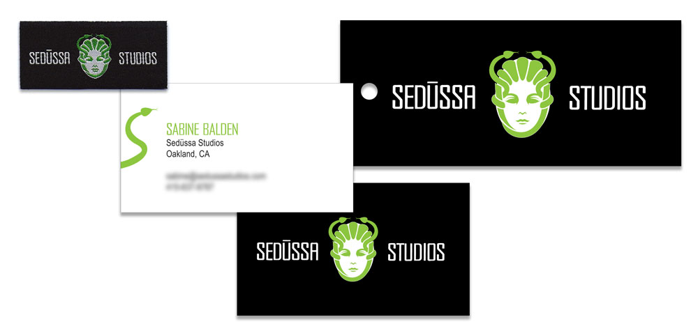 Sedüssa Studios clothing label, business card and hangtag