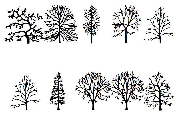 "The phrase ""about trees,"" shown in the font Trees"