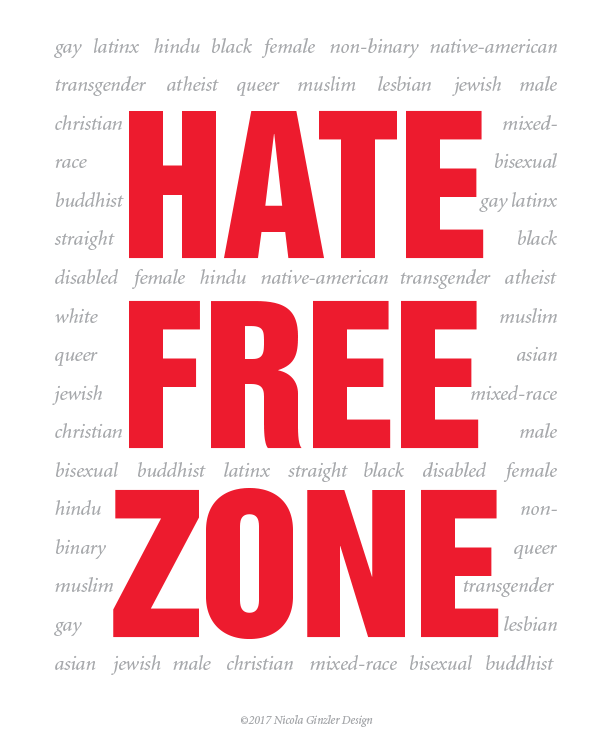 'Hate Free Zone' poster - English