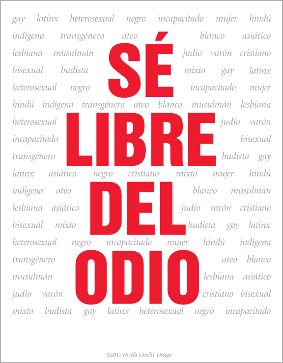 Hate Free Zone poster - Spanish