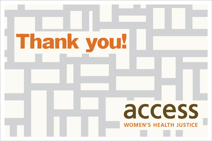 ACCESS Women's Health Justice thank-you card 3