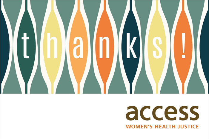 ACCESS Women's Health Justice thank-you card 4