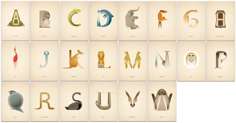 Alphabet with characters made up of animals