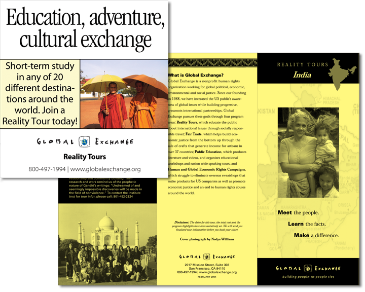 Global Exchange ad and Reality Tour brochure