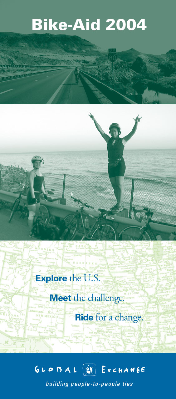 "Global Exchange ""Bike Aid"" brochure cover"
