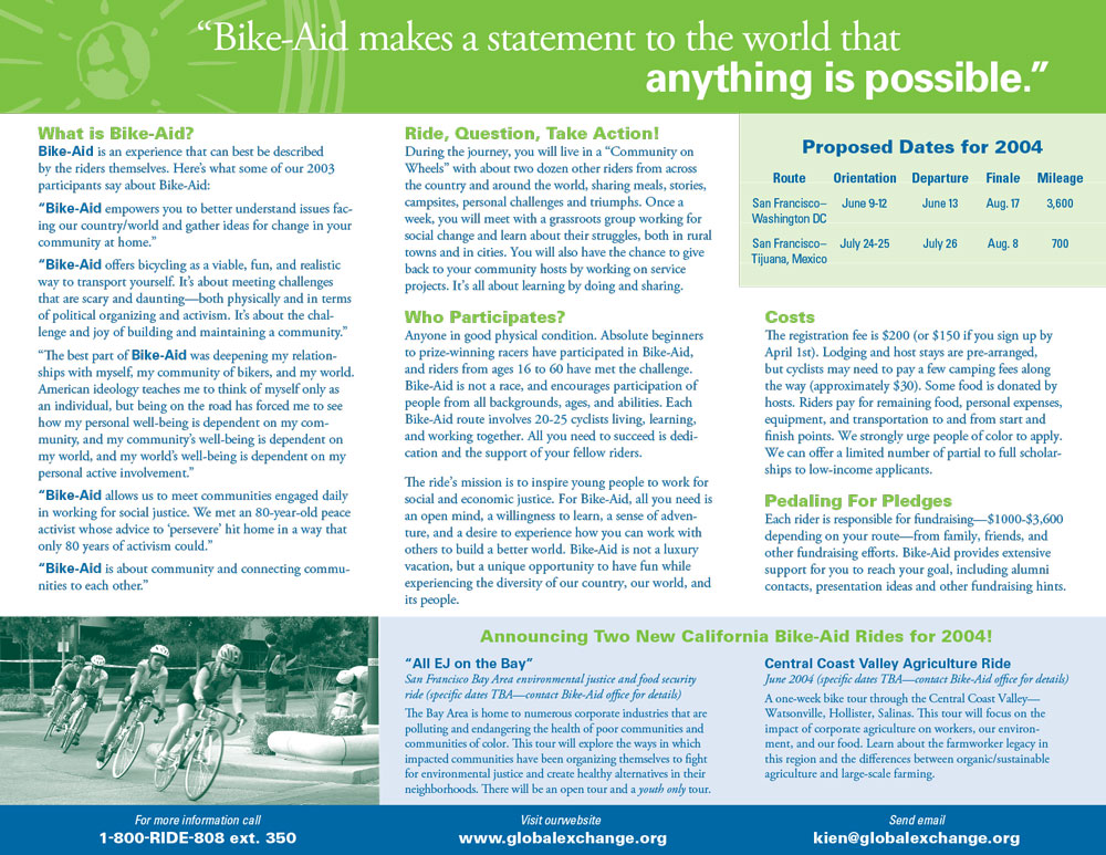 "Global Exchange ""Bike Aid"" brochure inside"