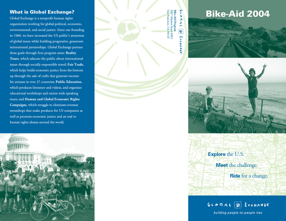 "Global Exchange ""Bike Aid"" brochure outside"