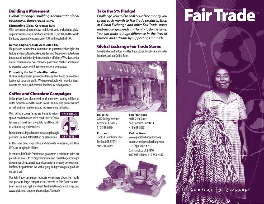 "Global Exchange ""Fair Trade"" brochure outside"