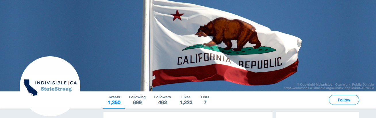 Indivisible California: StateStrong Twitter header