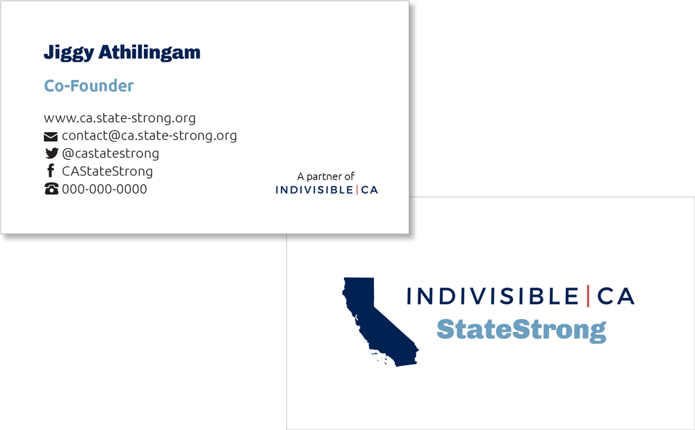 Indivisible California: StateStrong business cards front and back