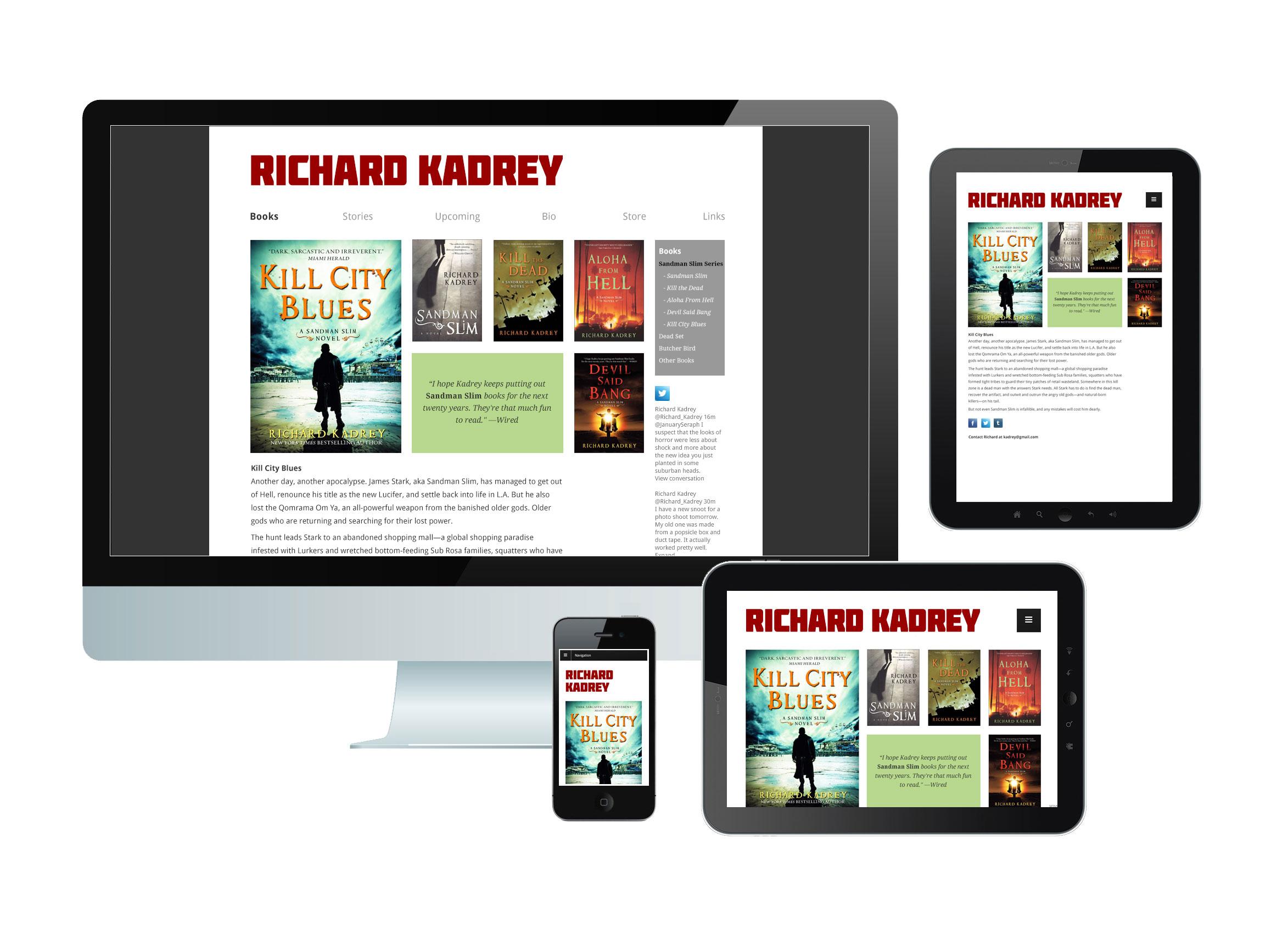 Richard Kadrey website on desktop, tablet and mobile screens