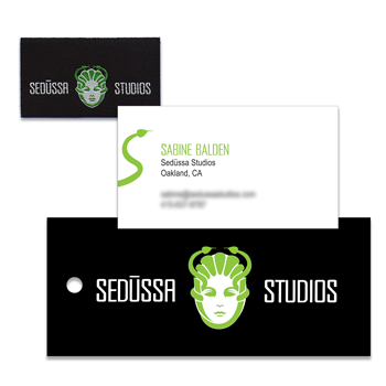 Sedüssa Studios clothing label, business card, and hangtag