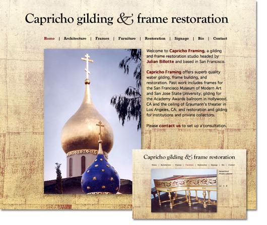 Capricho Gilding website: 2 pages