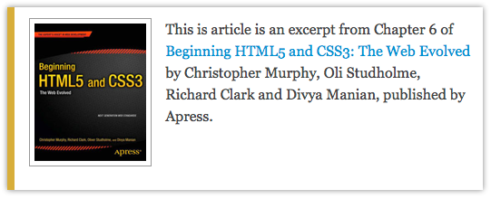 Book cover: Beginning HTML5 and CSS3: The Web Evolved