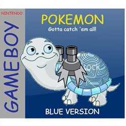 Pokemon game box with clip art and Comic Sans font