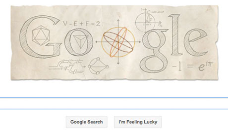 Leonhard Euler, the influential Swiss mathematician, has had the 306th anniversary of his birth honoured by a Google doodle. Photograph: Google