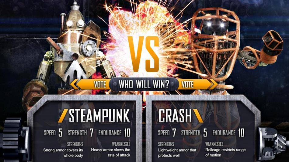 """Steampunk"" robot vs. ""Crash"" robot"