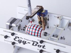 """Egg-Bot"" drawing on egg"