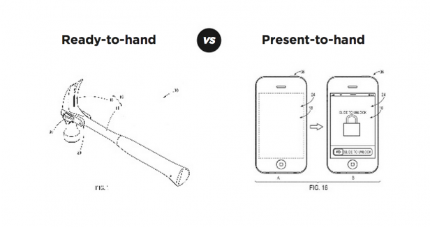 """Ready-toHand"" (hammer) versus ""Present-to-Hand"" smartphone interface"