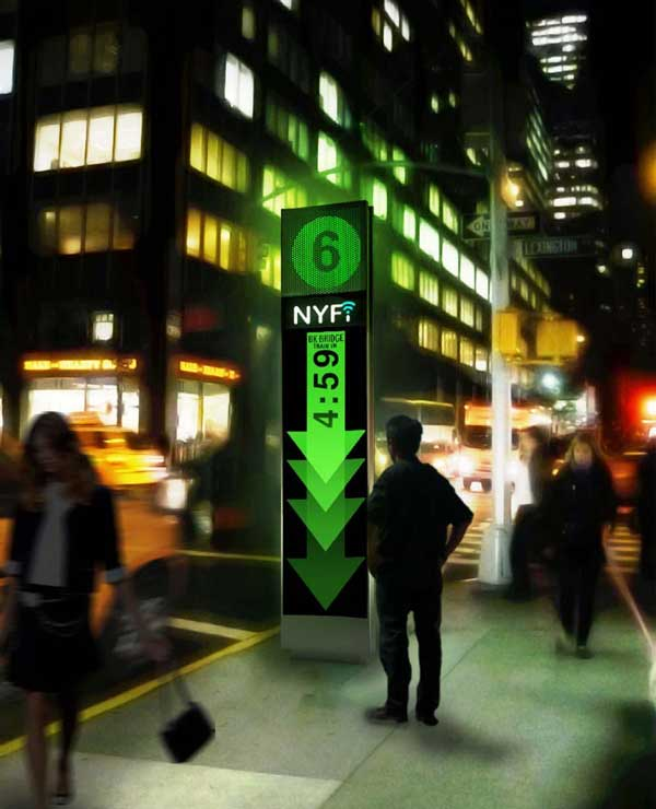 NYFi payphone at night