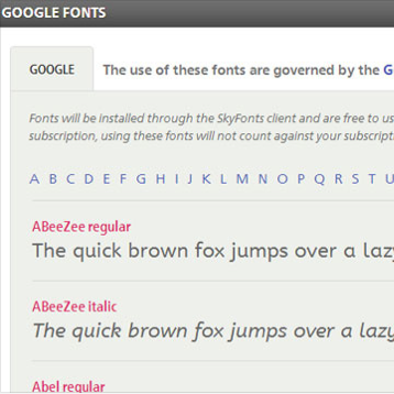 Google Fonts download interface