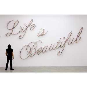 "Farhad Moshiri ""Life Is Beautiful"" art piece"