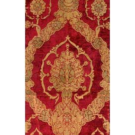 Red and gold velvet brocade with pomegranate motif