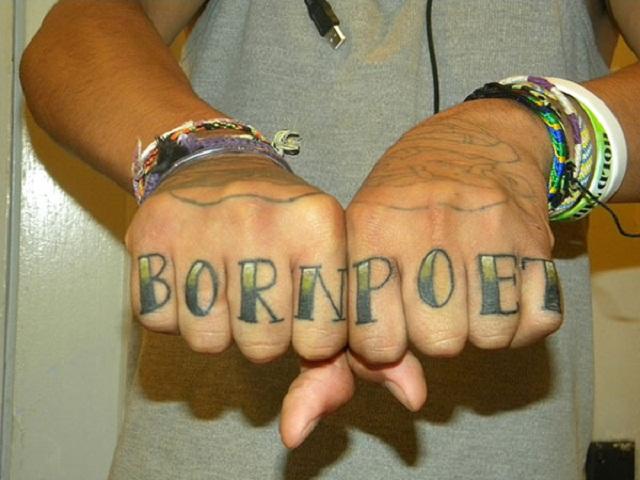 """""""Born Poet"""" knuckle tattoo"""