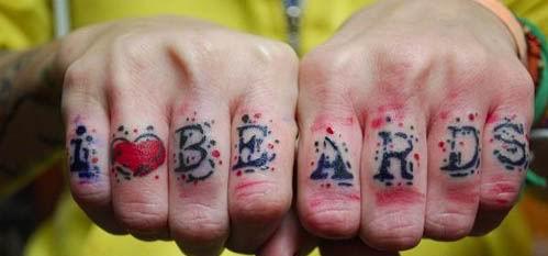 """""""I love beards"""" knuckle tattoo"""