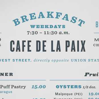 Cafe menu with five fonts
