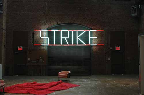 "Claire Fontaine artwork - ""Strike"" - lit up 1"