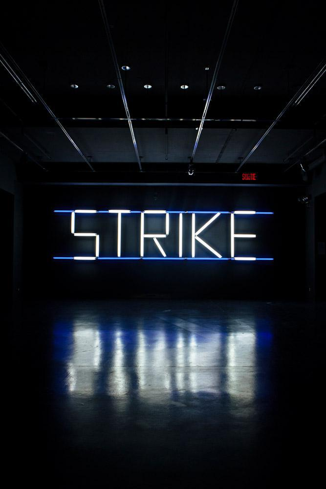 "Claire Fontaine artwork - ""Strike"" - lit up 2"
