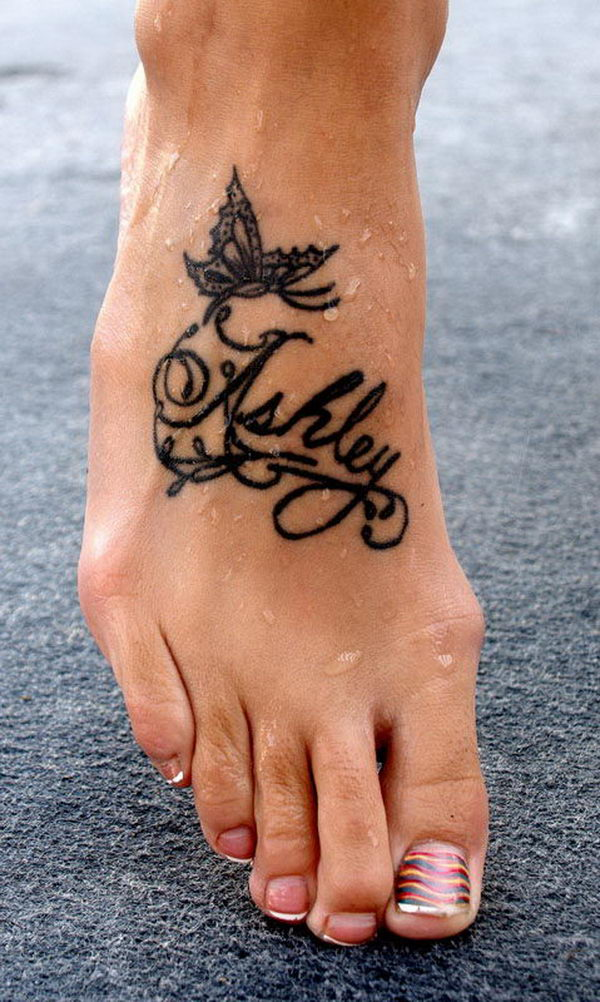"""Ashley"" foot tattoo"