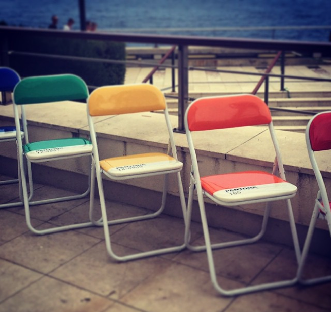 Green, Yellow and Red Chairs