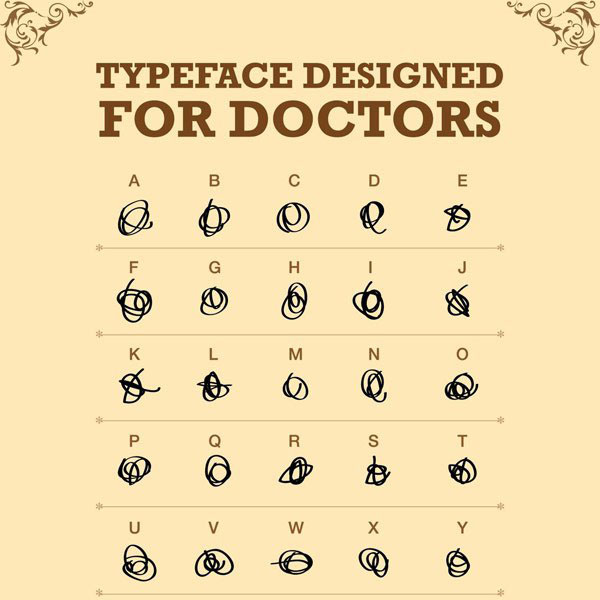 """Typeface Designed for Doctors"" chart showing an unreadable squiggle for each letter of the alphabet"