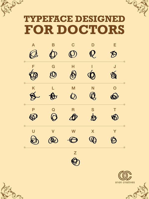 """Typeface for Doctors"" chart showing an unreadable squiggle for each letter of the alphabet"